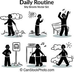 attività, set, routine quotidiana