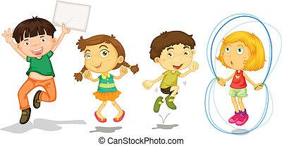 attivo, bambini, gioco
