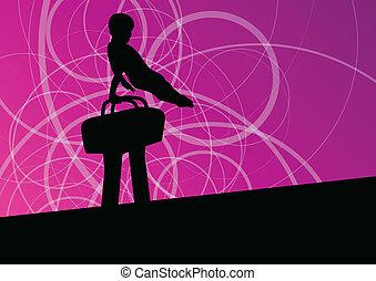attivo, bambini, sport, silhouette, su, cavallo pommel,...