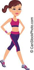 attivo, correndo, donna, adattare