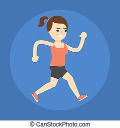 attivo, correndo, stile di vita, ragazza, icon.