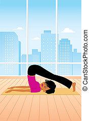 attivo, donna, posa yoga, aratro