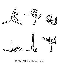 attivo, donna, yoga