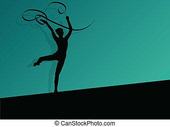 attivo, giovane ragazza, calisthenics, sport, ginnasta,...