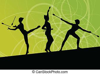 attivo, giovani ragazze, calisthenics, sport, ginnasti,...
