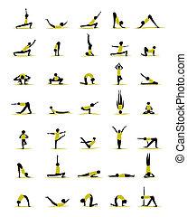 attivo, persone, yoga, disegno, pose, tuo