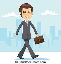 attivo, uomo affari, giovane