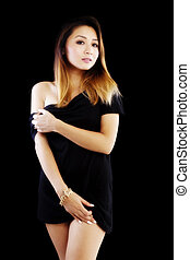 Attracitve Asian American Woman Black Dress