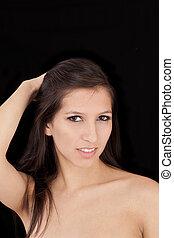 attracive, 肩, 女, 若い, 暗い, 裸, 肖像画, 毛
