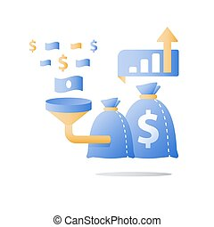 Attracting money, fund raising campaign, easy loan, fast capital growth, investment return, funnel and money bag, finance concept,
