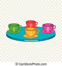 Attraction cups of tea spinning in a circle icon