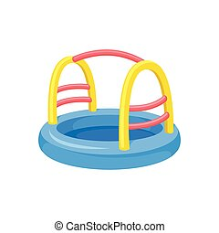 Attraction for children. Colorful inflatable pool concept.