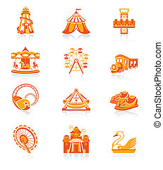 Attraction icons | JUICY series - Amusement park or funfair ...