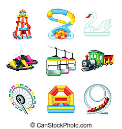 Attraction icons || Set II - Colorful amusement park or ...