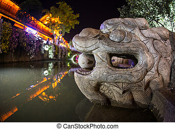 attraction, lion, -, touriste, chinois
