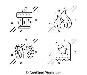 Attraction, Ranking and Fire energy icons set. Loyalty ticket sign. Free fall, Laurel wreath, Flame. Vector