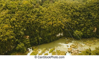 Attraction zipline in the jungle on the island of Bohol,...