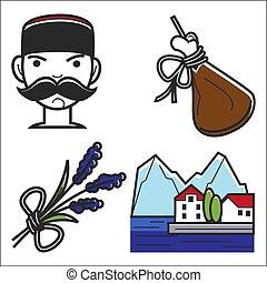 attractions., culture, repères, montenegro, célèbre, vecteur, voyage, tourisme