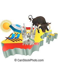 attractions, espagne, touriste, illustration, espagnol
