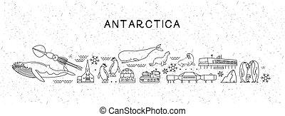attractions., illustration., ícones, cartaz, viagem, map., antártica, vetorial, inspirational, mundo, animais, linha, sightseeing