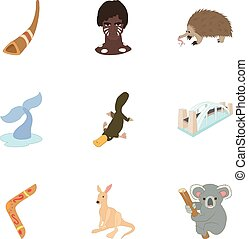 Attractions of Australia icons set, cartoon style