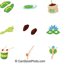 Attractions of Brazil icons set, cartoon style