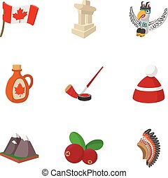 Attractions of Canada icons set, cartoon style