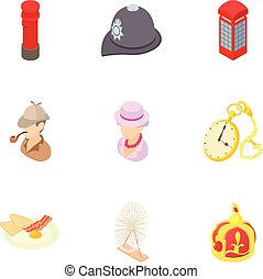 Attractions of England icons set, cartoon style
