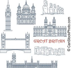 Attractions of Great Britain and Chile linear icon - Linear...