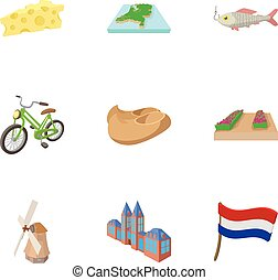 Attractions of Holland icons set, cartoon style