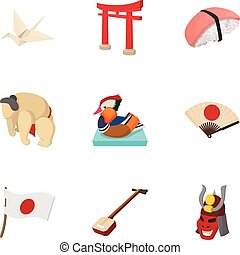 Attractions of Japan icons set, cartoon style
