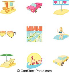 Attractions of Miami icons set, cartoon style