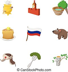 Attractions of Russia icons set, cartoon style