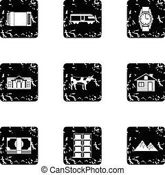 Attractions of Switzerland icons set, grunge style