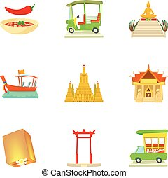 Attractions of Thailand icons set, cartoon style