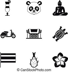 Attractions of Thailand icons set, simple style