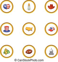 Attractions of USA icons set, cartoon style