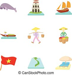Attractions of Vietnam icons set, cartoon style