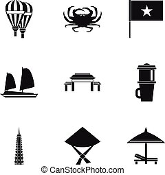 Attractions of Vietnam icons set, simple style