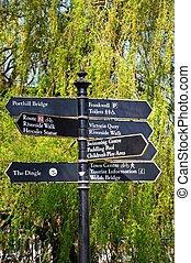 Attractions signpost, Shrewsbury.