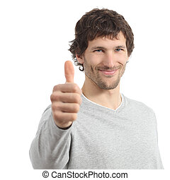 Attractive adult man agree with thumb up isolated on a white...