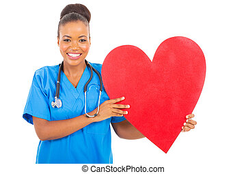 african american healthcare worker with heart symbol
