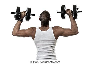 Attractive african american hispanic mix man exercising