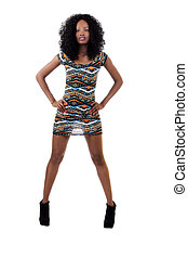 Attractive African American Teen Girl Arms Akimbo Dress