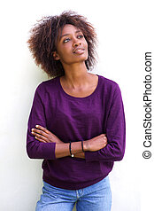 Attractive african american woman against white background