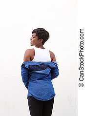Attractive african american woman from behind