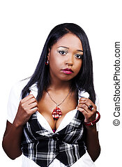 Attractive African American Woman In White shirt And Plaid Vest