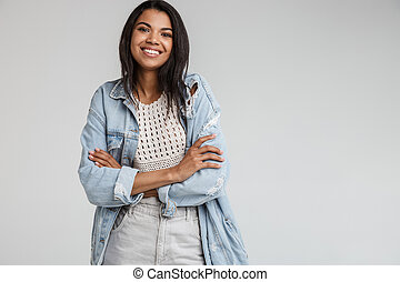Attractive african american woman isolated