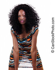 Attractive African American Woman Light Through Dress
