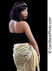 Attractive African American Woman Looking Back Over Shoulder